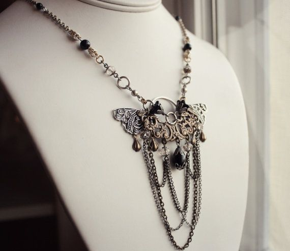 Leeftijd Brass & zilver vlinder ketting - zwart - goud - Statement - Fashion…