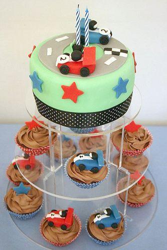 Race Car cake w/ cupcakes