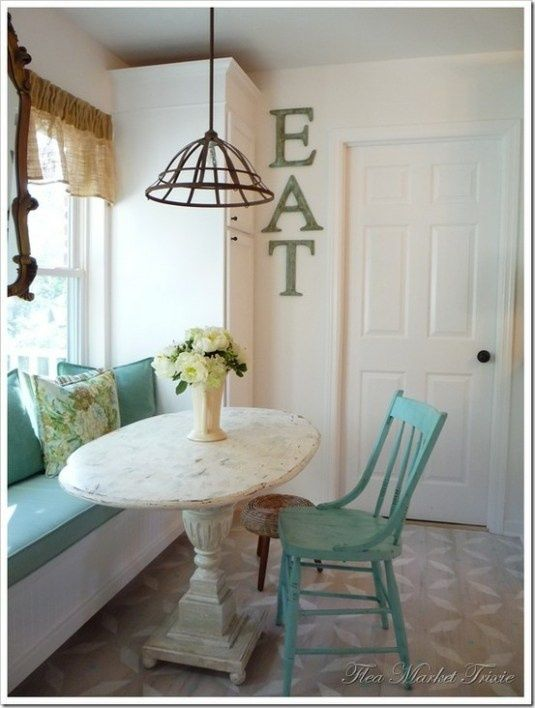 Shabby chic kitchen nook - small sitting area for drinking coffee....