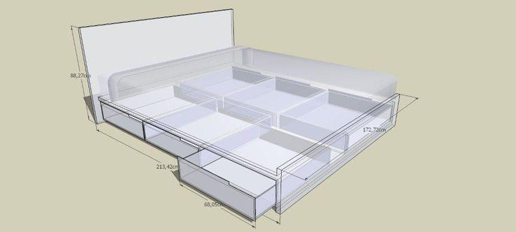 Zelf bed maken tekening google zoeken for the home pinterest beds search and villas - Loft bed met opbergruimte ...