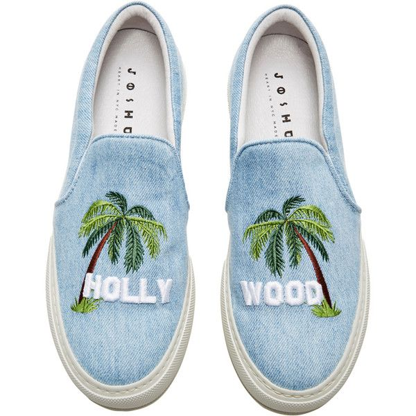 Hollywood Sign Sneakers | Moda Operandi (5.022.860 IDR) ❤ liked on Polyvore featuring shoes, sneakers, denim sneakers, stitch shoes and denim shoes