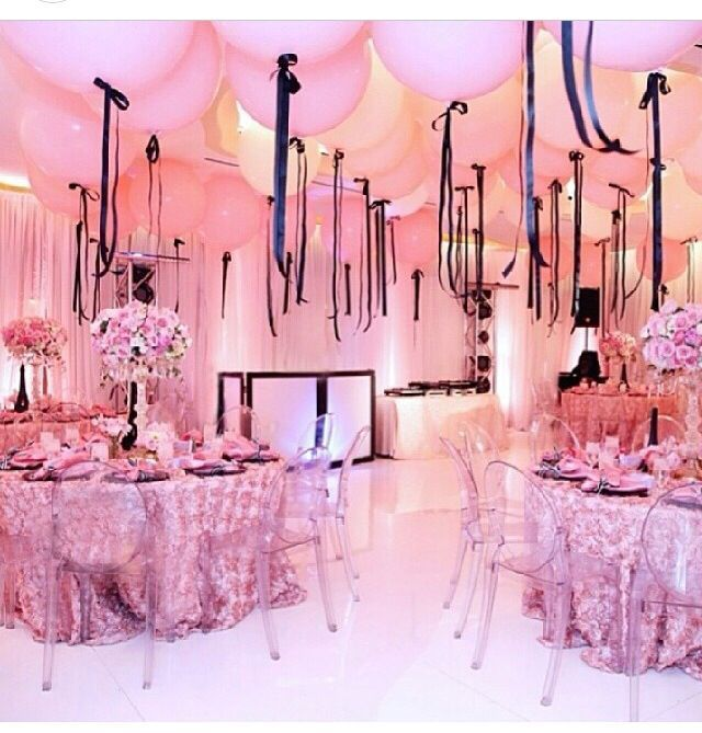 Gorgeous balloon ceiling with huge pink latex balloons.