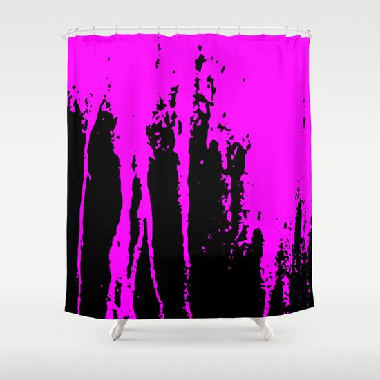 Shocking Pink Scratched Paint Shower Curtain by Mailboxdisco