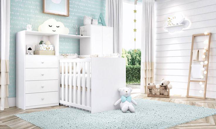 O Quarto de Bebê Bianco 3 em 1 inclui um bercinho que pode ser usado entre a cômoda e o guarda-roupas para deixar o ambiente mais espaçoso e organizado!