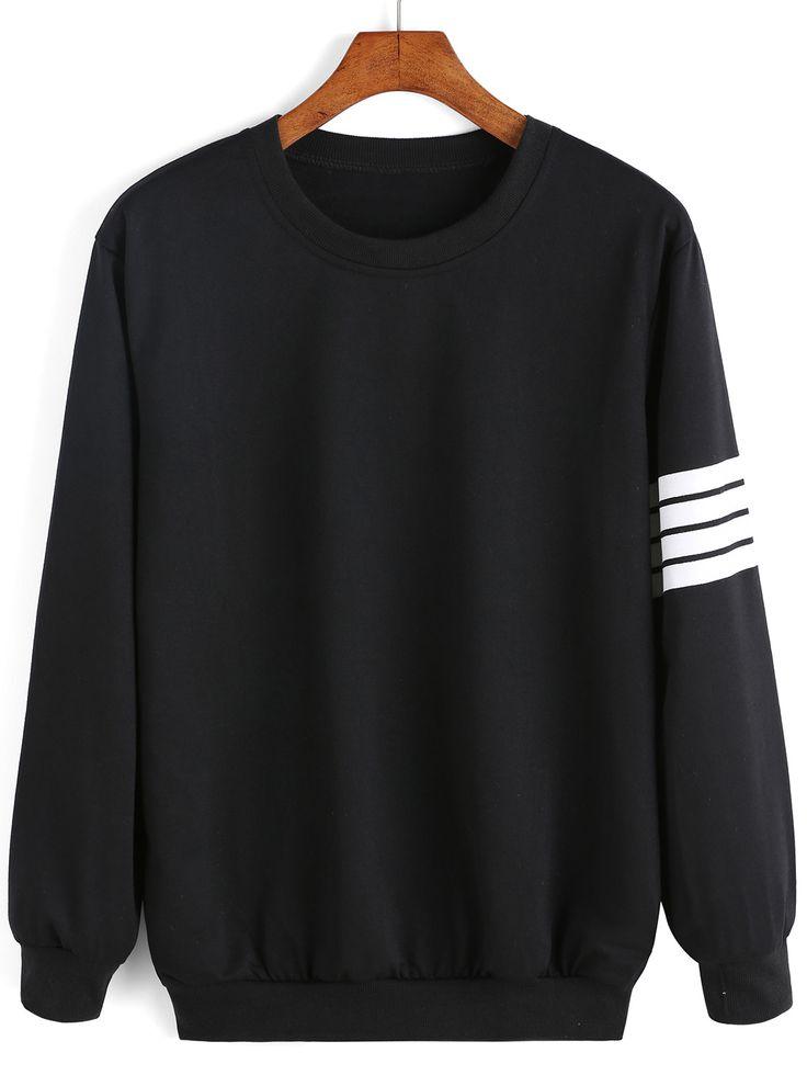 Round Neck Varsity-Striped Sweatshirt - shein.com simple & fashion fall  styles