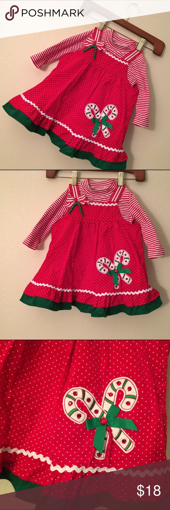 Rare editions Christmas jumper dress 18m toddler Two piece jumper dress and bodysuit top size 18 months in excellent condition Rare Editions Dresses