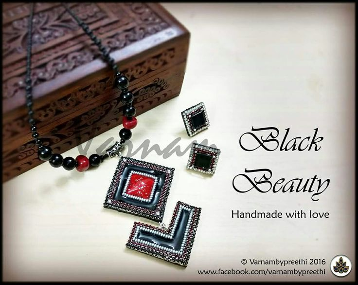 It's truly an elegant black beauty. Code name: Black Beauty  Customized Handcrafted paper based pendant with some elegant stringing and matching studs. #handmadelove #varnambypreethi #blackbeauty #chennai #accessories #studs #cabochons #jewelry #trendy