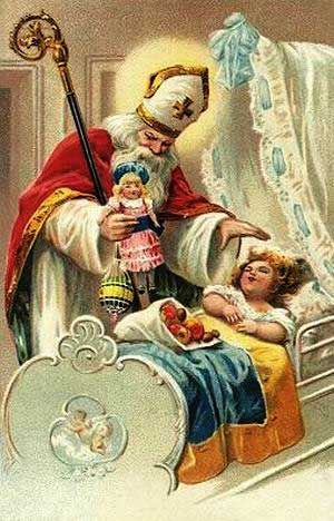 Saint Nicholas Visting a Sleeping Child Vintage Postcard circa 1909; image from behind a door in an online Advent Calendar