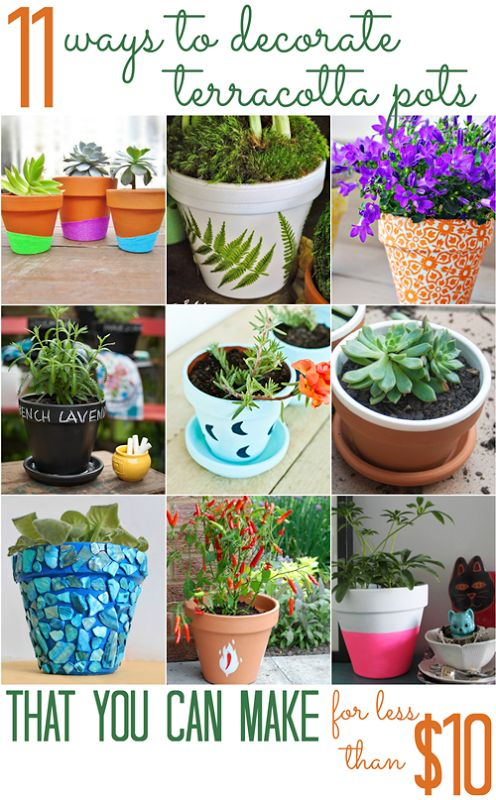 Diy Garden Pots 123 best diy planters images on pinterest gardening vegetable 11 ways to decorate terracotta pots for less than 10 all cheap crafts workwithnaturefo