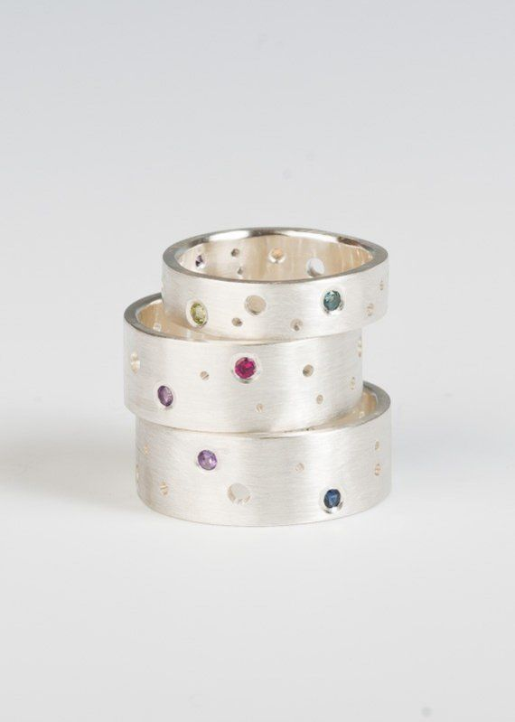 Gemstone Moon Band Ring in sterling silver custom by JujuBySarah, $168.00