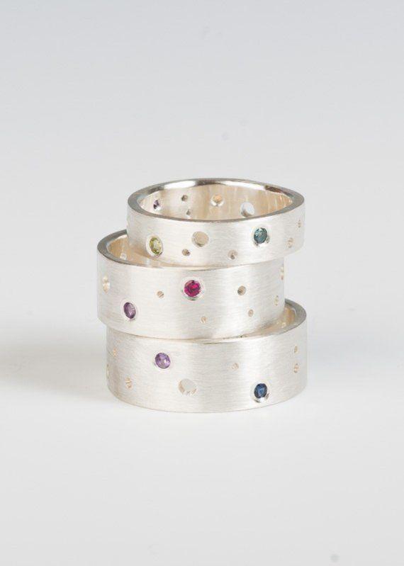Piedra preciosa Luna banda anillo en plata piedras por JujuBySarah