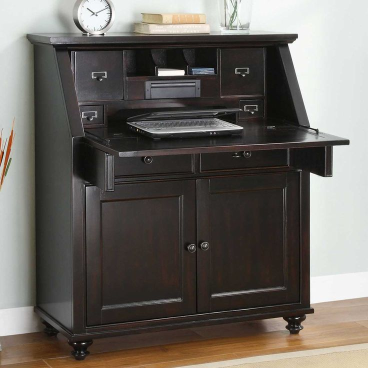 Hampton Bay Black Wood Secretary Desk In Drop . Cabinet ComputerCorner ...