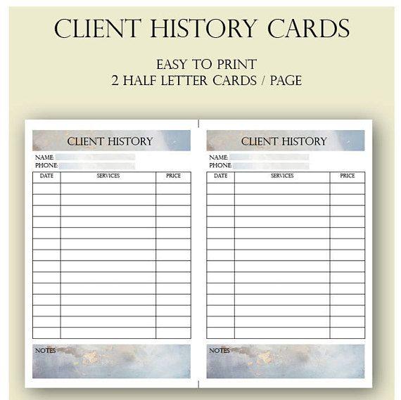 Client History Cards Salon Client History Cards Beautician Salon Promotions Beauty Business Hair Salon Decor