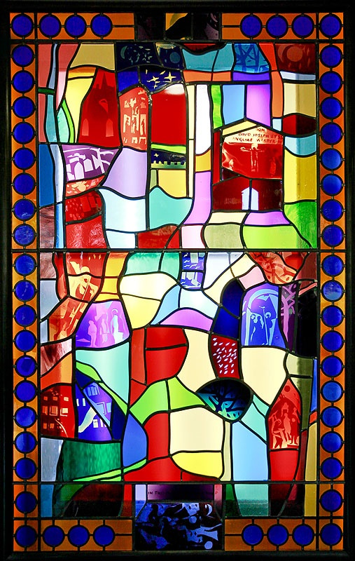 A new parish centre in Bishop's Stortford, Hertfordshire, opened last October with the simultaneous unveiling of a new specially commissioned glass panel designed by Anthony De Jong Cleyndert.