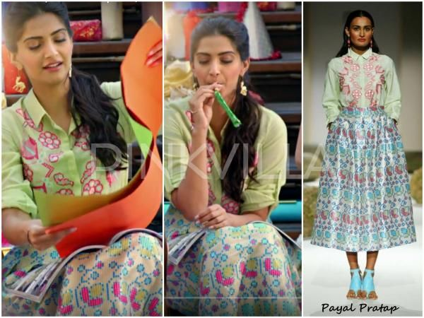Look 1 : In Payal Pratap shirt x skirt and Ornamas Camel earrings.