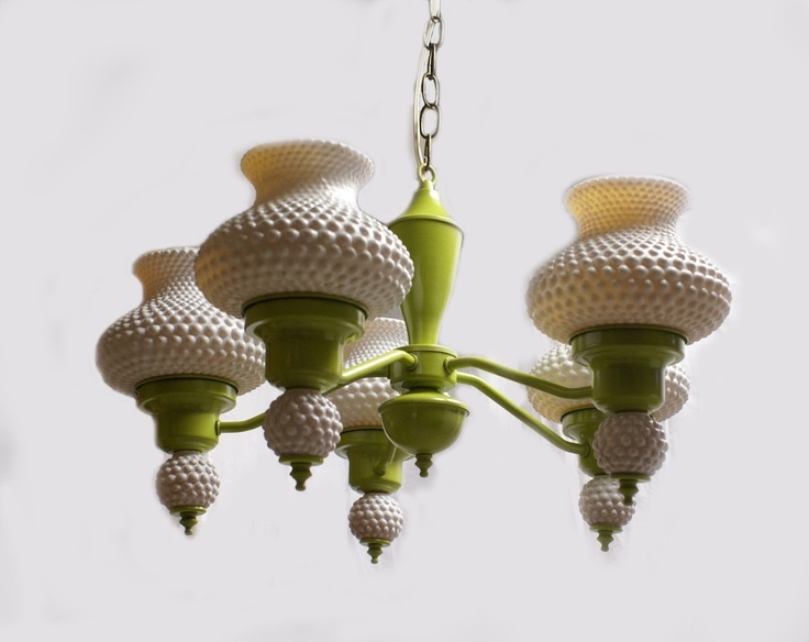 Green Vintage Chandelier With Milk Glass Globes