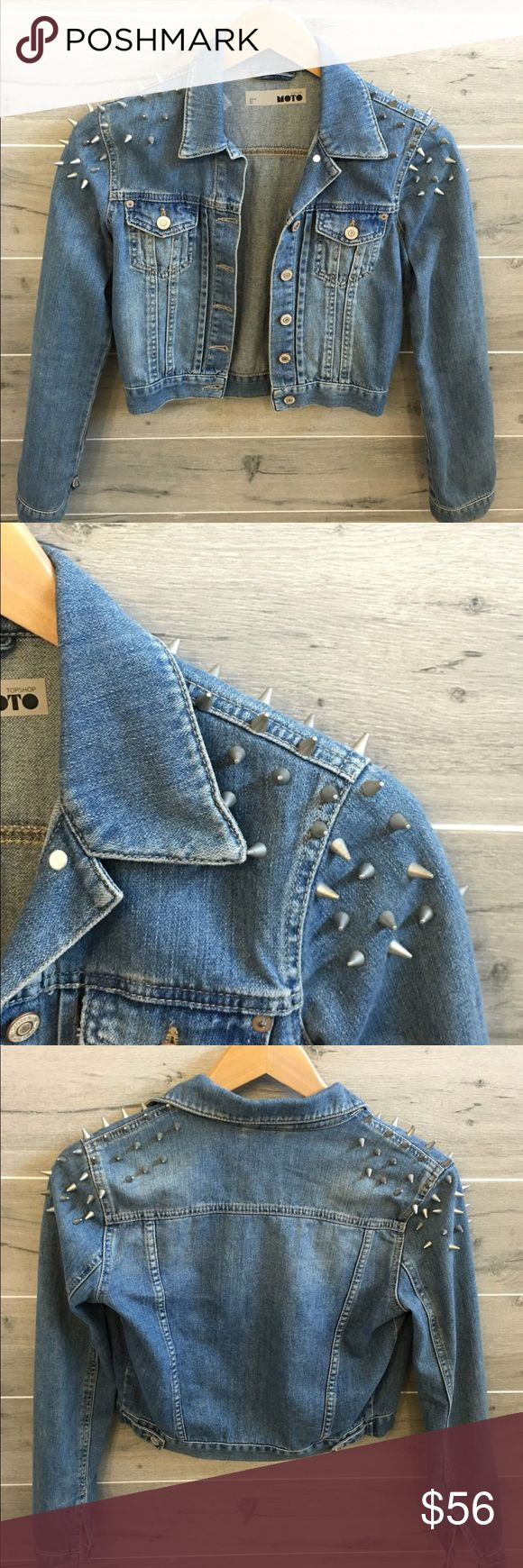 TOPSHOP spike jean jacket In perfect condition hardly worn, distressed look, all spikes intact. Purchased in TOPSHOP Madrid while on vacation Topshop Jackets & Coats Jean Jackets