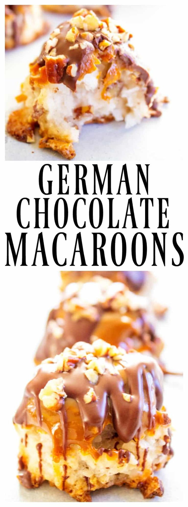 GERMAN CHOCOLATE MACAROONS - Loaded with coconut & pecans, dipped in caramel & drizzled with chocolate; this drool worthy cookie is a holiday must have.