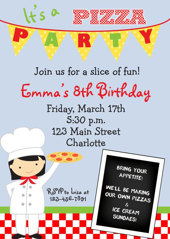 @Summer Olsen White pizza party invitation pizza birthday party by TheButterflyPress, $12.00