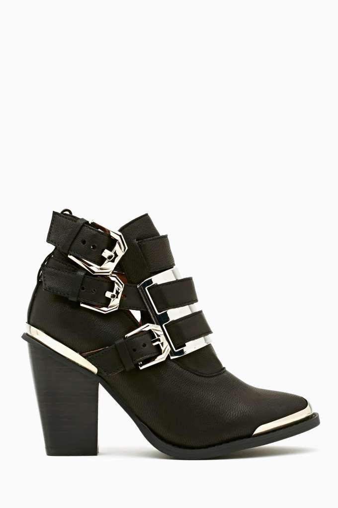 Jeffrey Campbell Hyatt Buckled Bootie - Black I like all the metal--it's like a cross between a Chelsea boot & punk rock western. Yea, I would want to rock it...
