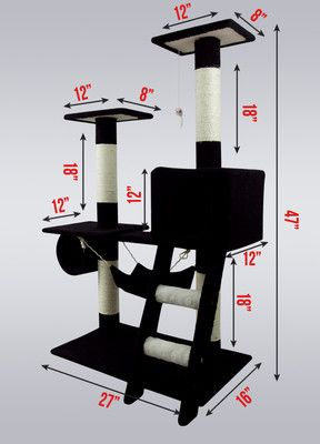 "New Cat Tree 47"" Kitten Condo Play Furniture Scratching Post Pet House Black 