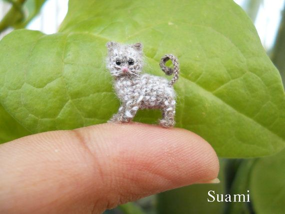 1/2 Inch Micro Grey Cat Kitten - Tiny Crochet Miniature Cat Amigurumi - Made to Order