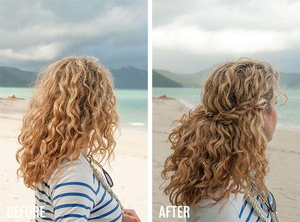 2 min hairstyle – half crown braid in curly hair