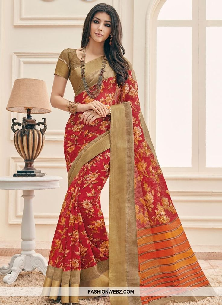 Steal the hearts away with this #red #artsilk trendy #classic #saree featuring #digitalprint #design