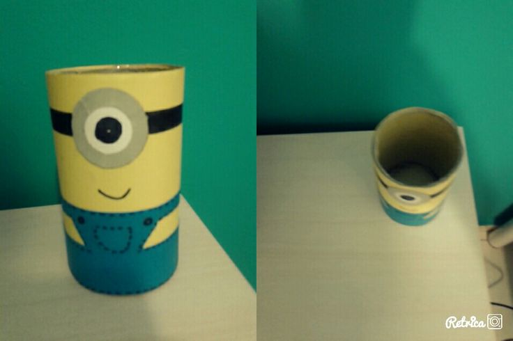 Minions pencil holder.I made this one using scrabooking paper which I raped around a carton from toilet paper