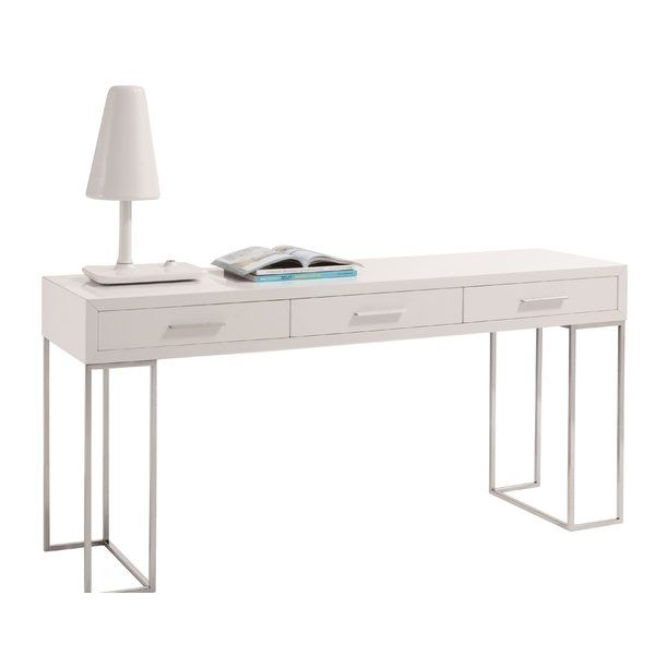 Bring stylish simplicity to your workspace with this streamlined writing desk, showcasing a high-gloss white finish and chrome-toned legs.