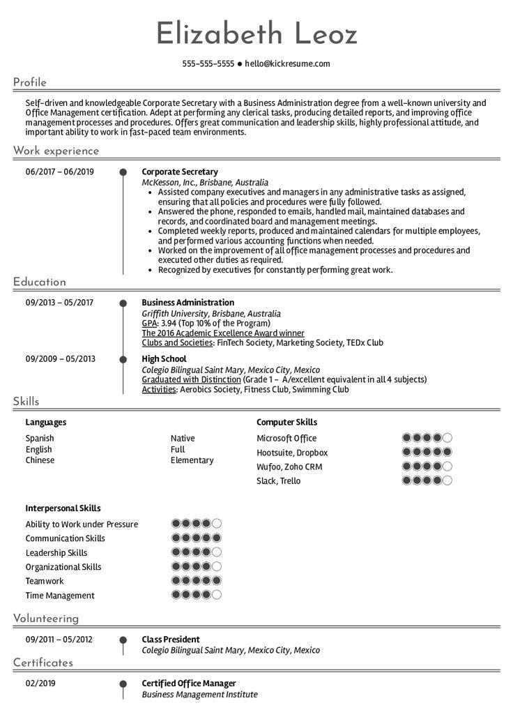 Resume examplesreal people corporate secretary resume