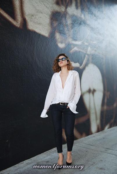 Карла Дерас блог Karla's Closet  | белая рубашка + джинсы