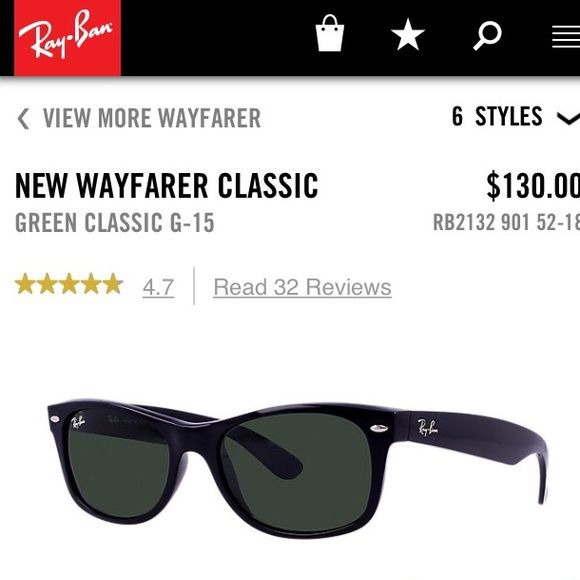 Black Ray Ban Wayfarer Classic Black frame with green lens. 52 mm size lens. Comes with cloth and Ray Ban case. Small scratch on one lens, seen in picture #3, barely visible. Still in good condition! Ray-Ban Accessories