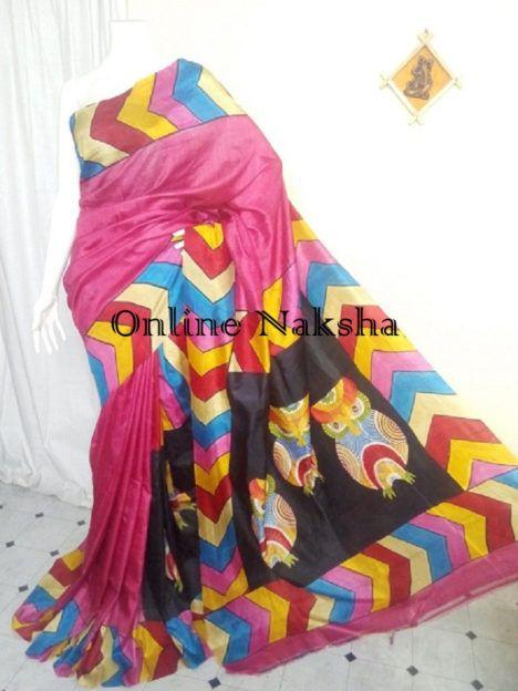 Handpainted Silk Sari Online To order Whatsapp +91-7551004229 or visit onlinenaksha.com #handpainted #silksaree #diwalishopping #festivecolection