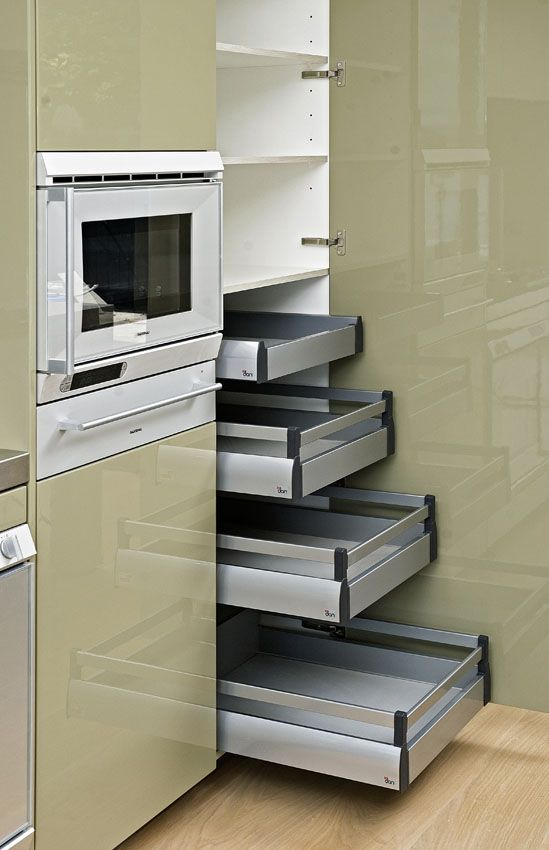 Tall doors conceal internal soft closing drawers