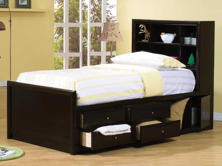 "Twin Bed CS400180T $429 Features : Color : Cappuccino Composition : Wood & Solid Style : Transitional Dimensions : Twin Bed : 88.50""W X 41""D X 50""H"