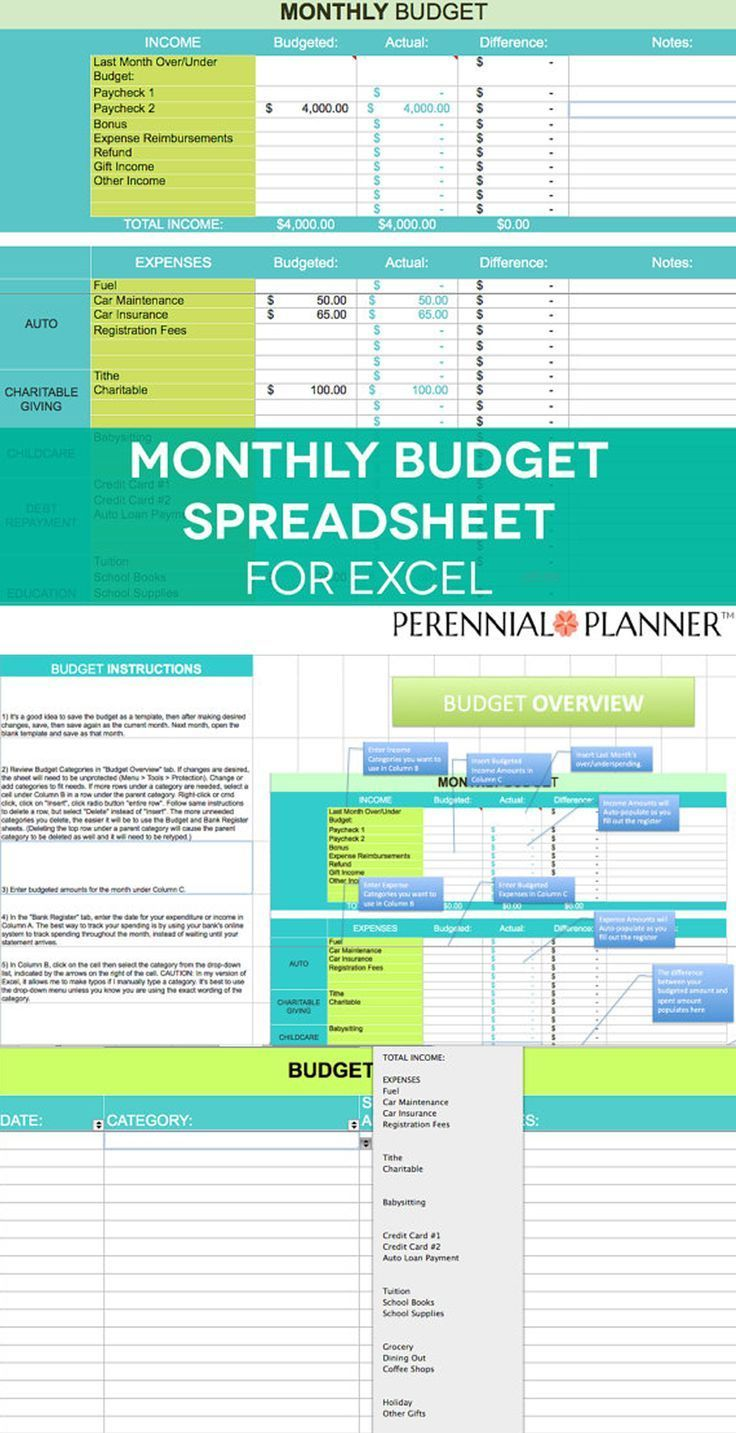 monthly budget spreadsheet household money tracker microsoft excel