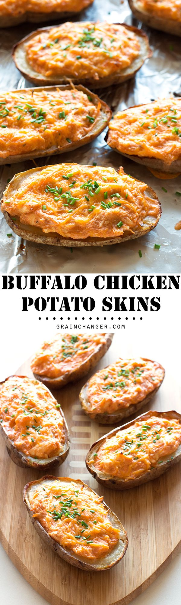 Two of the greatest football gameday foods - buffalo chicken dip and potato skins - come together for one of the most epic gluten-free football tailgate appetizers ever: Buffalo Chicken Potato Skins!
