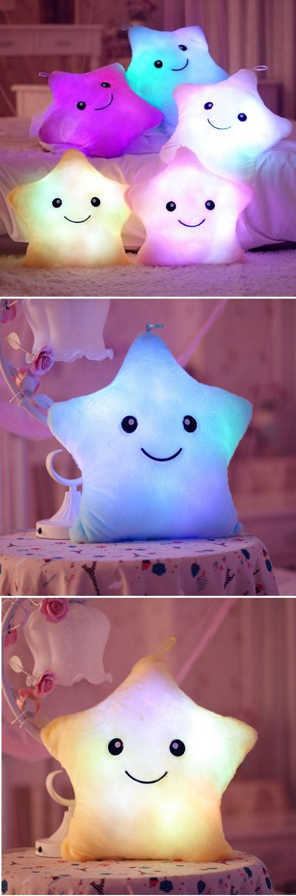 US$8.99 Plush Colorful LED Light Star Shape Throw Pillow Home Sofa Party Decor Toys Gift