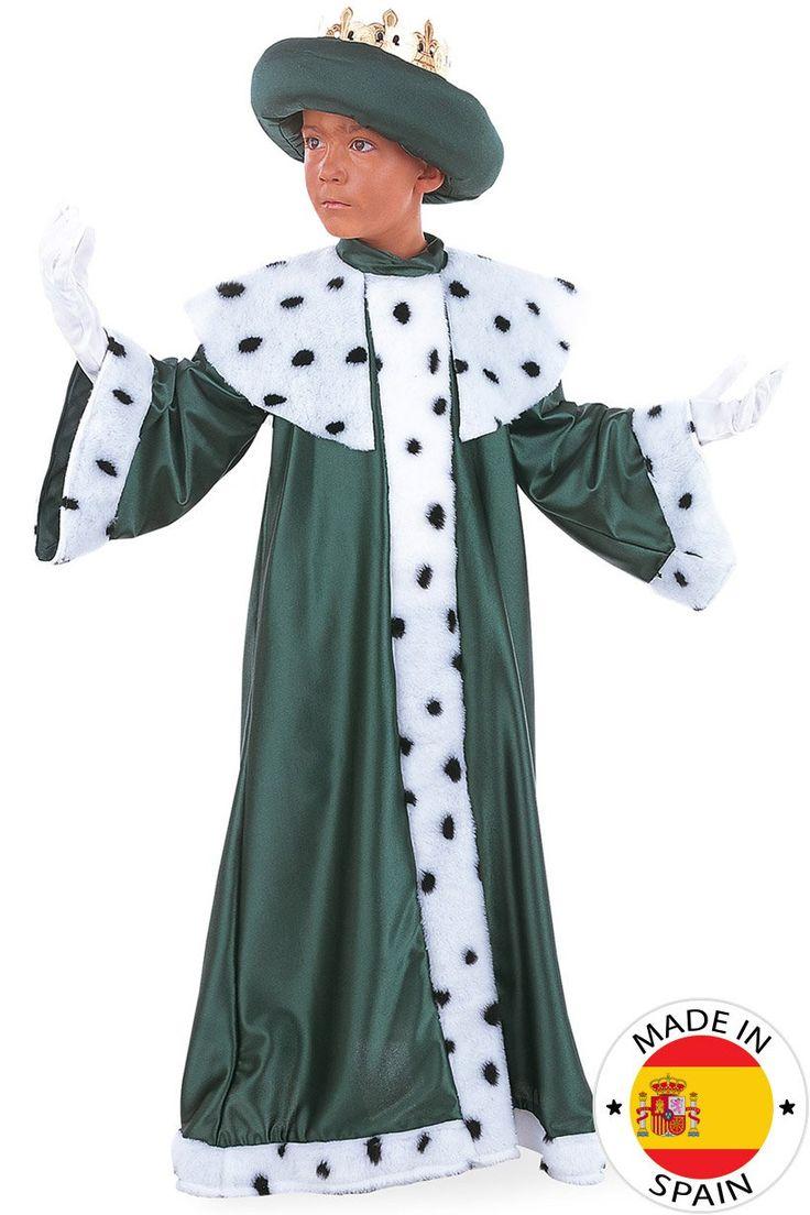 Disfraz de Rey Mago Baltasar infantil: Este disfraz de Rey Mago Baltasar para niños está compuesto por un vestido, una corona y una cofia (guantes no incluidos). El vestido largo de color verde y en efecto fieltro tiene piel...