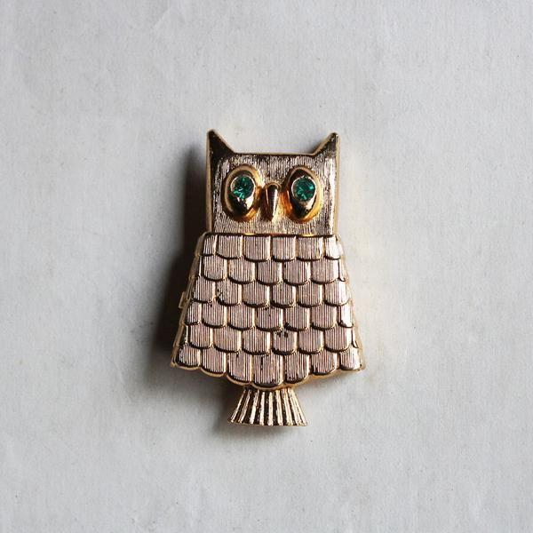 """C.1960-70s Vintage """"AVON"""" Owl Locket Brooch / ヴィンテージブローチ"""