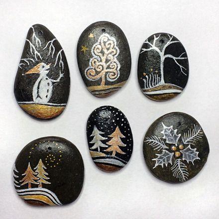 lot de 6 galets peints - décoration de table - www.coeurdepierre.org