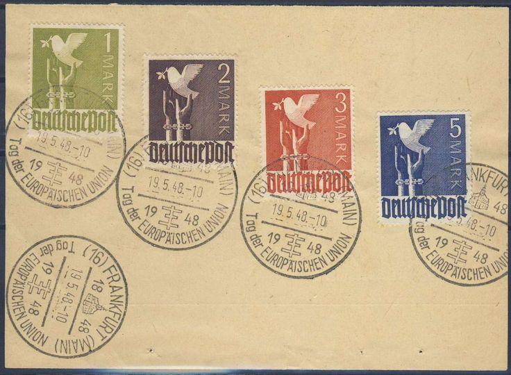 """Germany, Joint Issue, Alliierte Besetzung 1947, Friedenstaube, 1 M.-5 M. mit Sonderstempeln """"Tag der Europäischen Union"""", auf Kabinett-Briefstück (Bfst., Mi.-Nr.959-962). Price Estimate (8/2016): 20 EUR."""