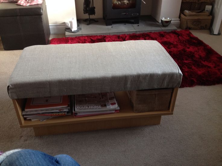 """This was just a cheap coffee table that I had had for years. After redecorating we were short of money so I added 3"""" foam and covered in material. I now have a coffee table/footstool with a shelf for magazines!! :-)"""