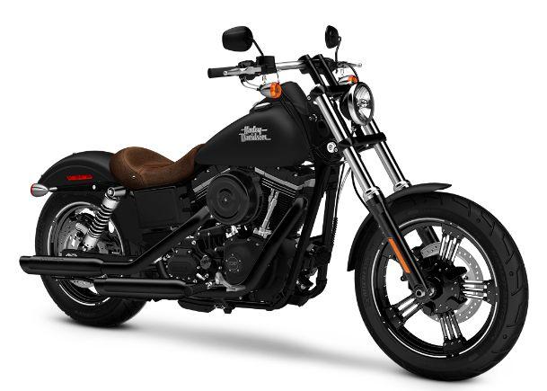 Custom Harley Street Bob. Matte black paint, brown leather accents, flat drag bars and oozing badassery.
