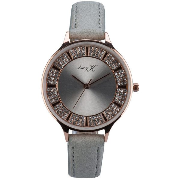 Lucy K Womens Grey Strap Watch ($19) ❤ liked on Polyvore featuring jewelry, watches, gray watches, grey jewelry and grey watches