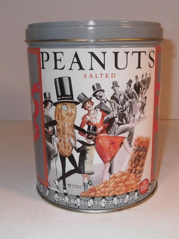 Vintage Planters Peanuts Tin / Advertising Tin by sistersusiesells