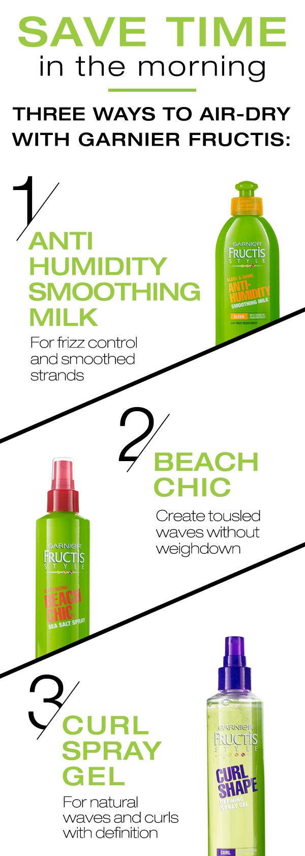 If you're in a time crunch in the morning, air drying your hair can be a big time saver! To stay stylish even against the clock, look to these three Garnier Fructis products that give your hair volume, texture and movement.