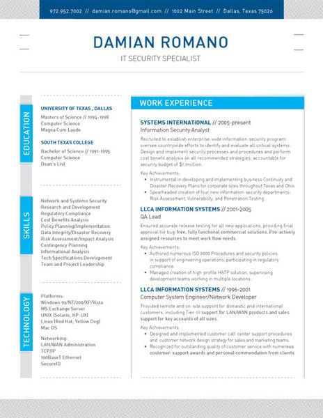 contemporary resume