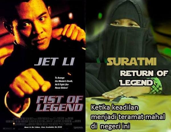 SURATMI & JET LI: Tentang Otopsi Pembuktian Kecurangan dan Nilai-nilai Keadilan  SURATMI & JET LI  [Tentang Otopsi Pembuktian Kecurangan dan Nilai-nilai Keadilan]  Kisah Suratmi yang menuntut keadilan dengan meminta otopsi pada jenazah suaminya Siyono mirip dengan cerita dalam film Fist of Legend (1994) yang dibintangi Jet Li.Fist of Legend ini bercerita tentang Master Huo Yuan-jia yang merupakan pendiri perguruan silat Jing Wu dianggap membahayakan rencana invansi Jepang ke daratan Cina…